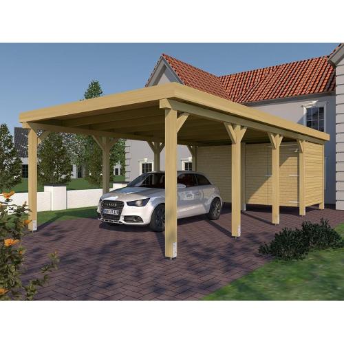 Einzelcarport Mit Geräteraum : prikker carport flachdach kvh 400 x 800cm einzelcarport ~ Watch28wear.com Haus und Dekorationen