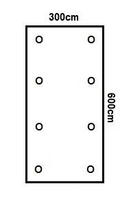 Prikker Carport Flachdach 300x600cm